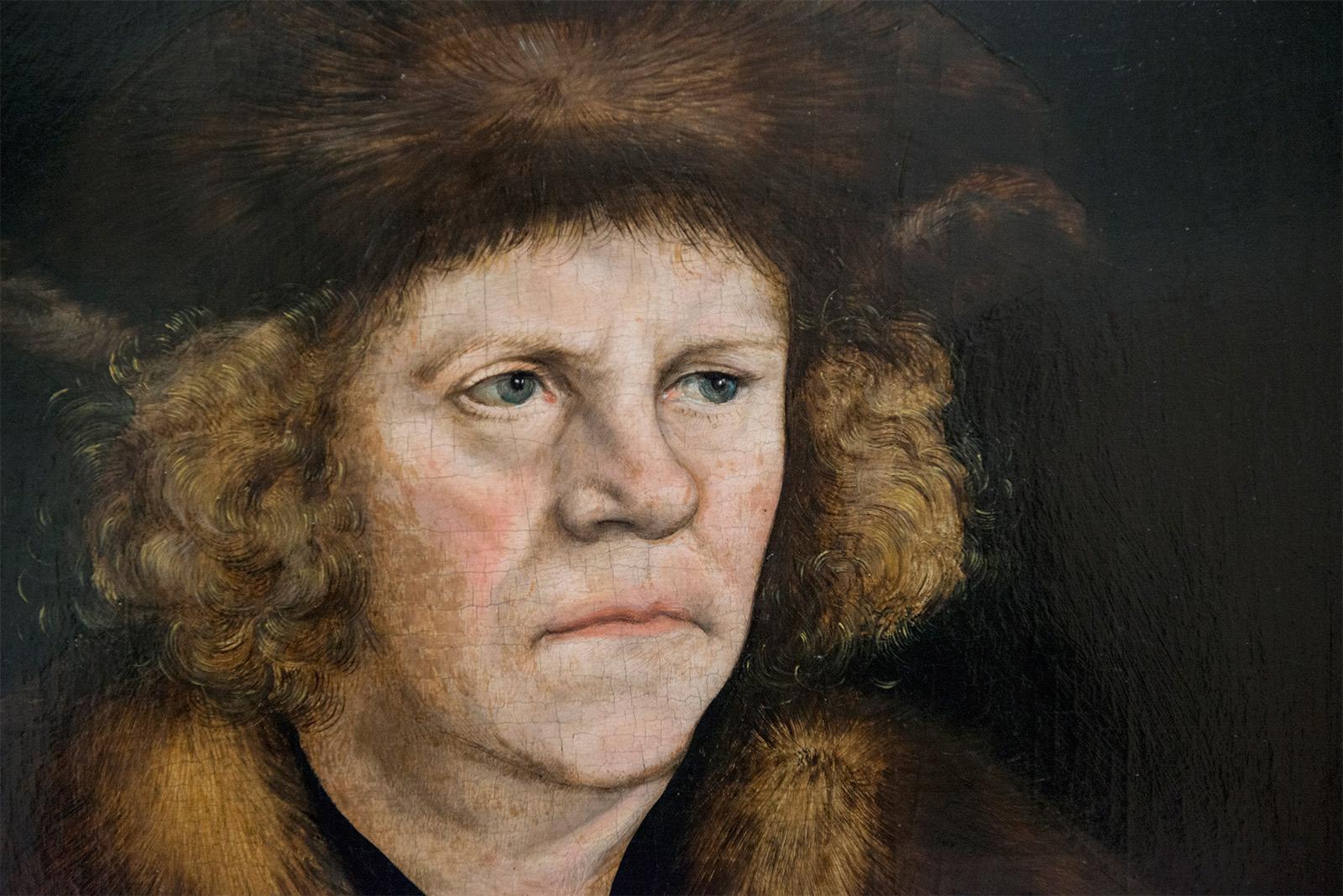 Lucas Cranach l'Ancien  (1472-1553) - Portrait d'un homme avec un beret de fourure brune - 1510/12