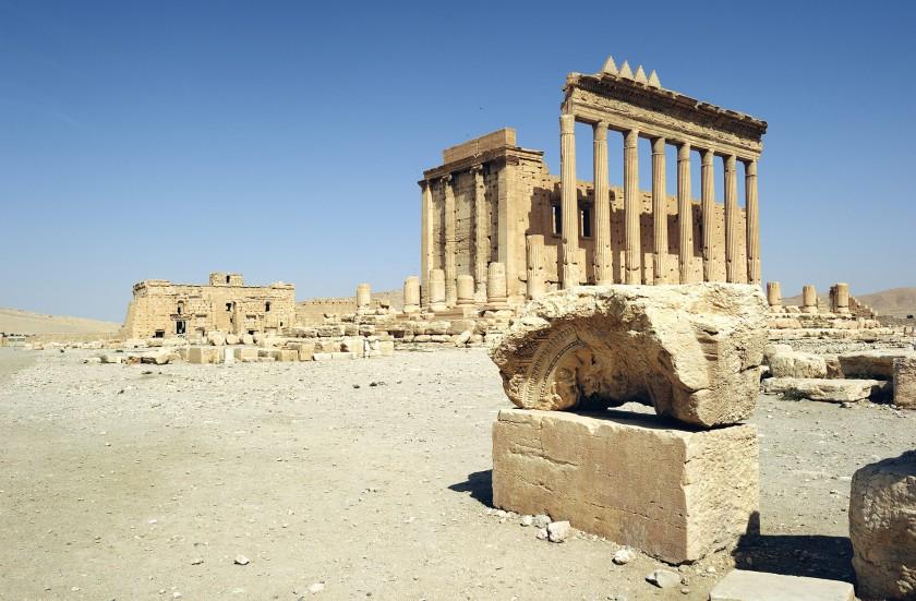 Destruction du temple de Bêl (Palmyre Syrie)  à l'explosif par l'État islamique
