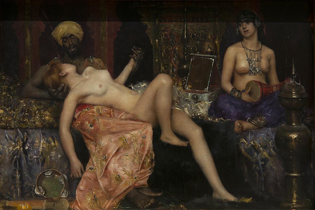 Maurice Bompard (Rodez, 1857 - Paris, 1936) Scène de Harem - huile sur toile