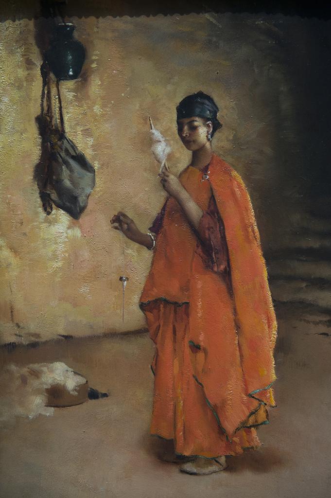 Maurice Bompard (Rodez, 1857 - Paris, 1936) La Fileuse - huile sur bois