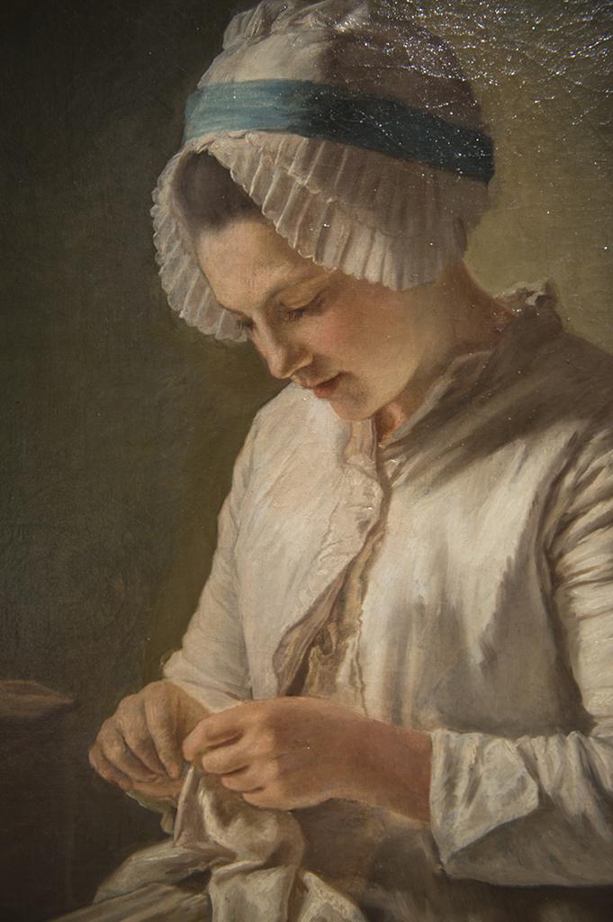 Françoise Duparc (Murcie, Espagne, 1726 - Marseille, 1778) Femme à l'ouvrage - huile sur toile