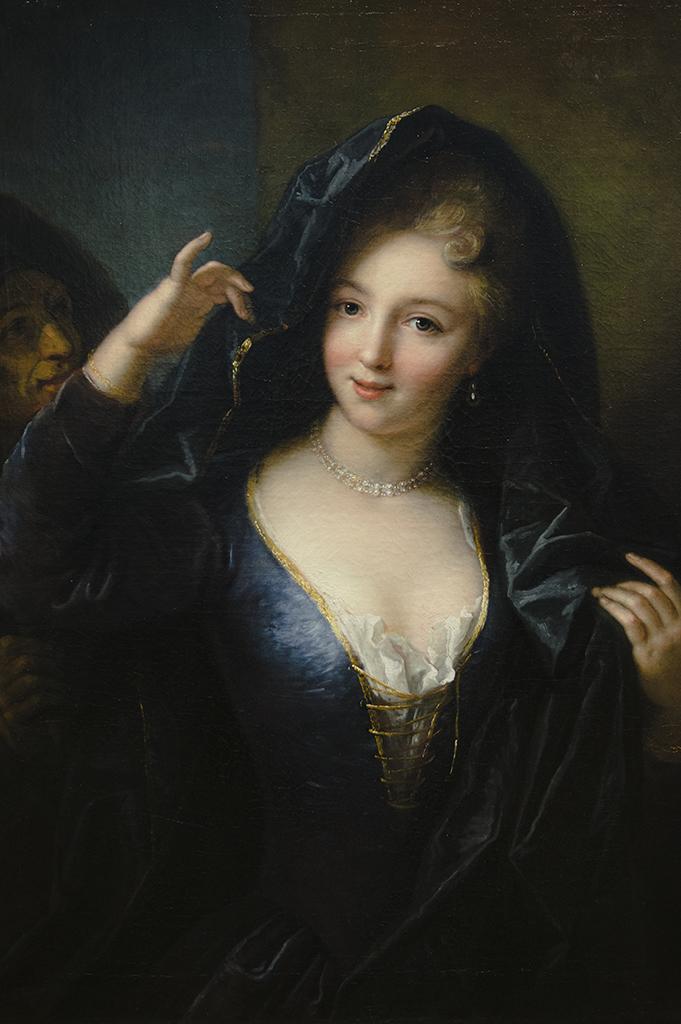 Anciennement attribué à Jean Raoux (Montpellier, 1677 - Paris, 1734) Jeune fille au collier de perles - huile sur toile