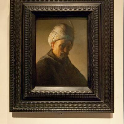 Vieil Homme en buste avec turban - Rembrandt, Vieil homme en buste avec turban, c;1627/1628, huile sur bois
