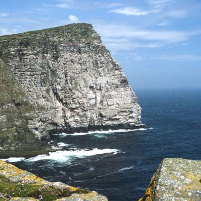 Île de Noss ou se trouve The Noup, le sommet d'une falaise de 180 mètres de hauteur où tournoient des milliers de fous de Bassan
