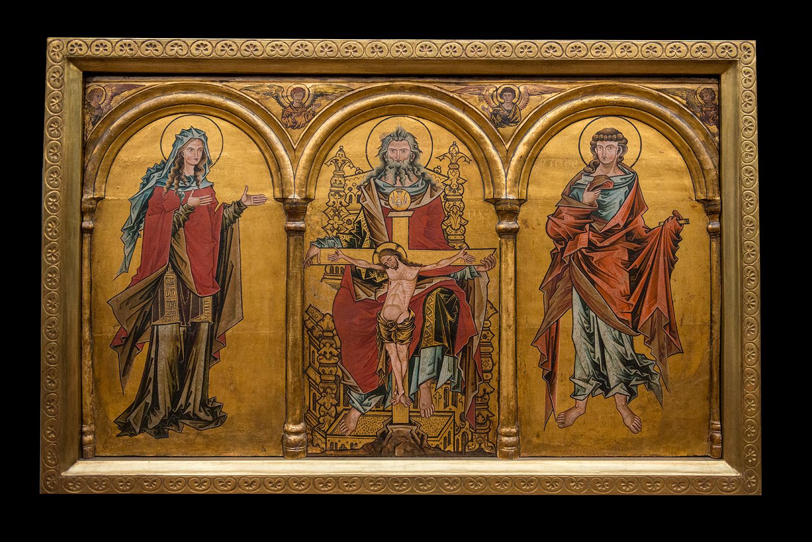Maître de Westphalie, après 1250. Retable d'autel avec trône de miséricodeRetable d'autel avec trône de miséricode - Bois de chêne, 71 x 120 cm Acquis en 1862.