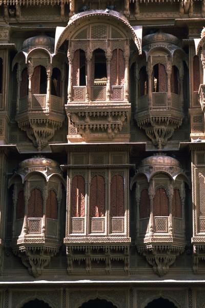 Demeures aux façades sculptées appelées Haveli - Jaisalmer - INDE 1985