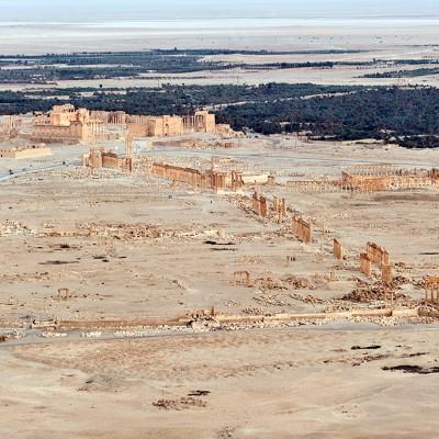 Vue du site de Palmyre de la citadelle, le château arabe Fakhr-ed-Din