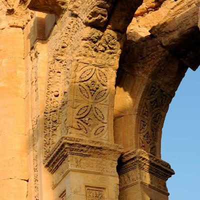 Détail des décorations de l'arc monumental : Palmyre Syrie.