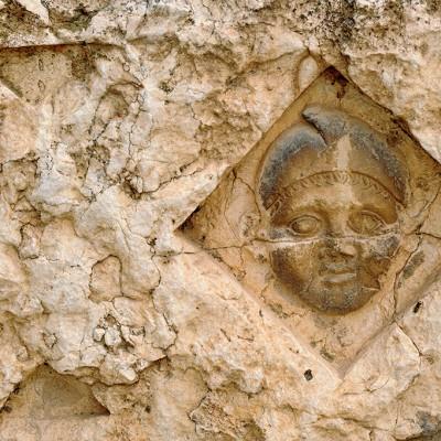 Détail d'un sarcophage - musée de Palmyre Syrie