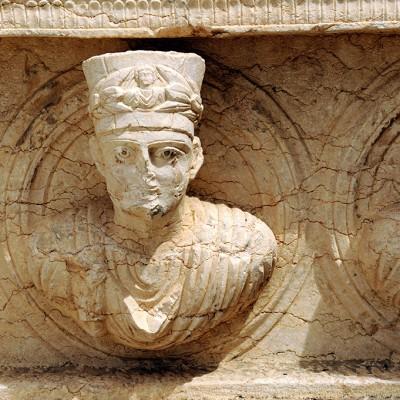 Détail d'un sarcophage - musée archéologique de Palmyre Syrie