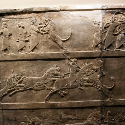 Scène de chasse, relief provenant de Ninive, palais Nord , albâtre gypseux