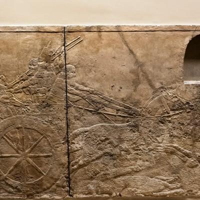 Ce relief néo-assyrien, rapproché des scènes de chasse du Nouvel Empire égyptien, montre l'universalité de la symbolique royale de la chasse aux fauves. ProvenanceAssyrie