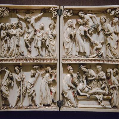 Diptyque - Scène de la passion du Christ - Paris 1290-1310, ivoire, 19,8 x 11,5 cm (chaque feuillet) Musée Calouste Gulbenkian - Lisbonne