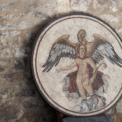 """Mosaïque du rapt de Ganymède """" détail (bouclier central)"""