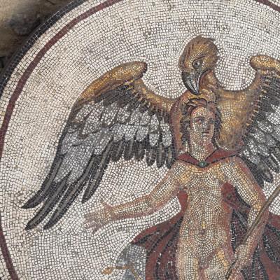 """Mosaïque du rapt de Ganymède """" détail (bouclier central) Saint-Romain-en-Gal, Musée archéologique lapidaire Saint-"""
