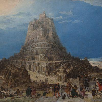 Vlámská skopla pocátku - École flamande 17siècle - Construction de la Tour de Babel.