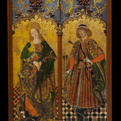 Santa Catalina et san Sebastian. Cercle de Juan Sánchez de Castro. Vers 1480. - Quatre paires de Saints provenant du couvent de San Benito de Calatrava. Dépôt des ordres militaires dans le Musée des beaux-arts de Séville.
