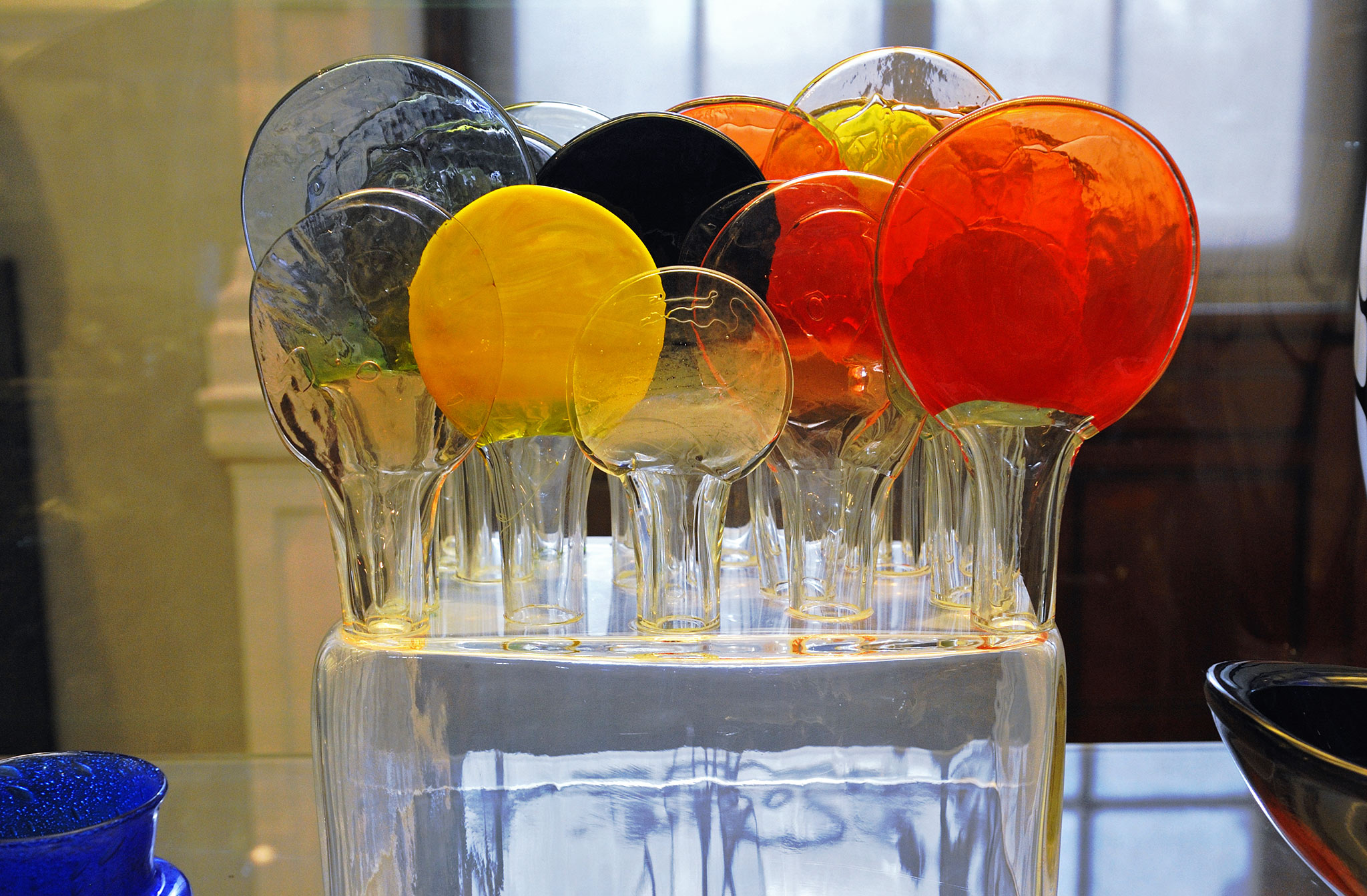 "Sculpture, ""Lollipop Isle"", part mould-blown, Finland, Oiva Toikka, at Nuutajärvi glasswork ; designed 1954"