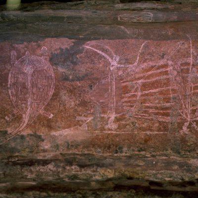 SITE ABORIGÈNE UBIRR ROCK - Peintures rupestres sur le Ubirr Rock faites par les aborigènes de cette région, certaines sont vieilles de plus de 20 000 ans. Australie