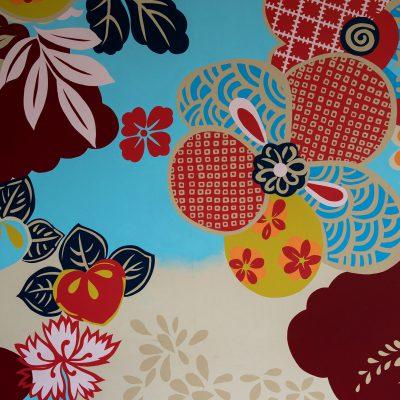 People's Gallery - 2004 - Michael Lin : Conçu à partir d'une recherche sur les procédés et les motifs utilisés dans la teinture. Kag Yüzen, l'œuvre prropose une nouvelle expérience de l'espace. Les sièges sont le résultat d'une collaboration avec Sanaa. Musée d'Art Contemporain du 21e siècle de Kanazawa