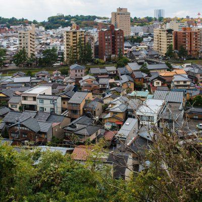 Vue depuis les hauteurs de Kanazawa du quartier de Higashiyama Higashi -