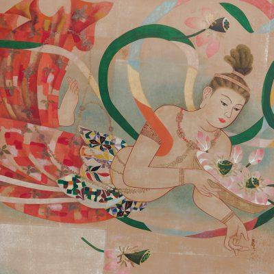 Le temple Senso-ji : Plafond illustré de la porte Hozomon