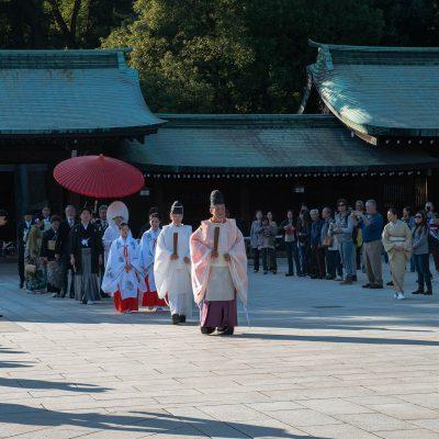 Cérémonie de mariage shinto : procession jusqu'au sanctuaire.