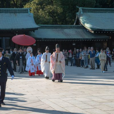 Mariage traditionnel japonais au sanctuaire Meiji jingu - Tokyo - Japon.