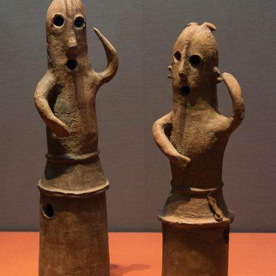 Haniwa (Terracotta tomb figurine) Dancing people, male - Excavated from Nohara tumulus, Azamiyawaki, Nohara, Kumagaya-shi, Saitama - Kofun period, 6th century