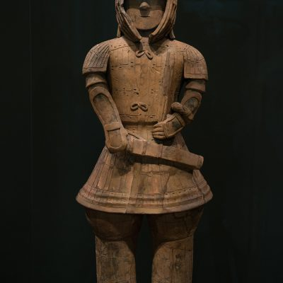 Warrior in Keiko Armor - Haniwa (terracotta tomb figurine) - Frome lizuka-cho, Ota-shi, Gunma - Kofun period, § th century