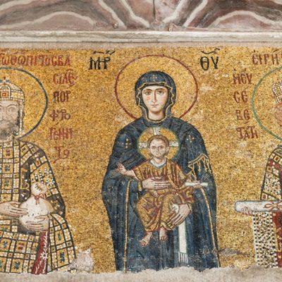 La Vierge et l'Enfant Jésus, entre l'empereur Jean II Comnène et l'impératrice Irène, vers 1118.